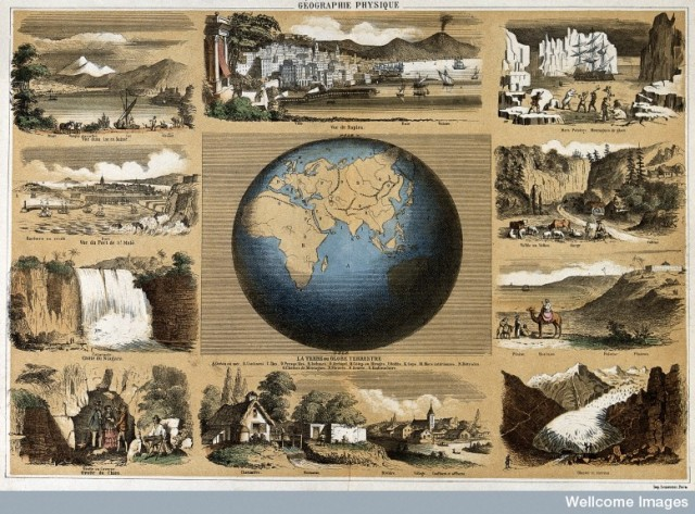 V0025076 Geography: a map of the world, with local scenes around. Col