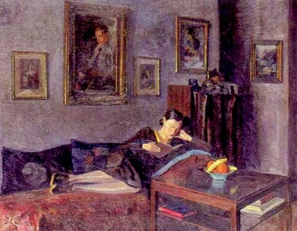 Panitzsch, Robert (1879-1949) Interior med liggende pige, der läser, 1932