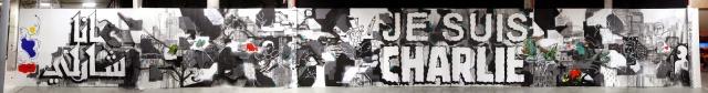 14 - La France Kiss _JE SUIS CHARLIE_, mural by André, Lek & Sowat, Cokney, Alëxone, Arnaud Liard, Hugo Vitrani, Jean Charles de Castelbajac and Felip
