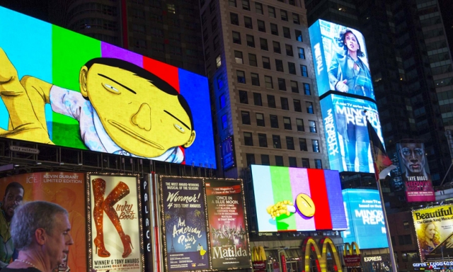 os-gemeos-times-square-midnight-moment-parallel-connection-designboom-06