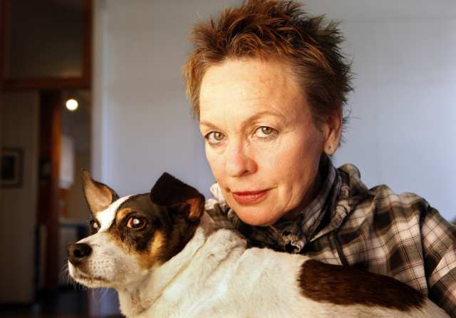 """NEW YORK, NEW YORK--OCT. 3, 2010--Performance artist Laurie Anderson will perform her multimedia work """"Delusion"""" at UCLA on Oct 21, 2010. One of the pieces she performs is about her dog Lolabele. (Carolyn Cole/Los Angeles Times)"""
